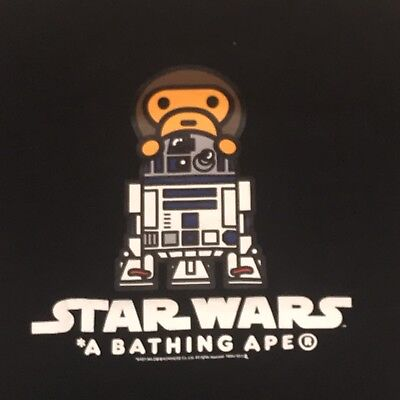113a534e PRE-OWNED BAPE A Bathing Ape x Star Wars T Shirt Black Small R2D2 ...