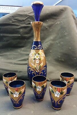 Blue Cobalt Bohemiam Decanter & Five Cordial Cups Glasses Glass Moser (?)