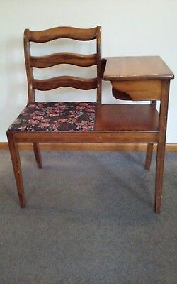 Vintage Mahogany Telephone Table Chair Gossip Seat Antique