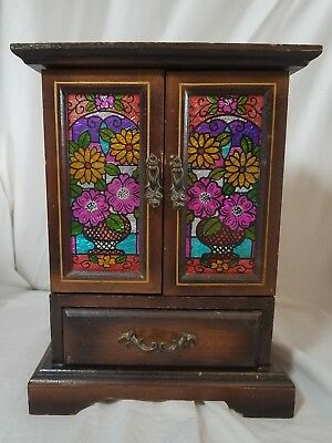 VINTAGE ANTIQUE Armoire Wooden Jewelry Music Box 60s 70s style 10 3