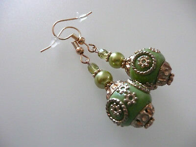 Vintage Art Deco Style Czech Crystal, Indonesian Ceramic & Glass Long Earrings