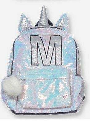 Justice Shimmer Unicorn M Initial Letter Backpack Sequin Hologram Nwt New Holo
