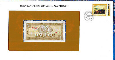 Banknotes of All Nations Romania 1 Leu 1966 UNC P91 Serie A.0037