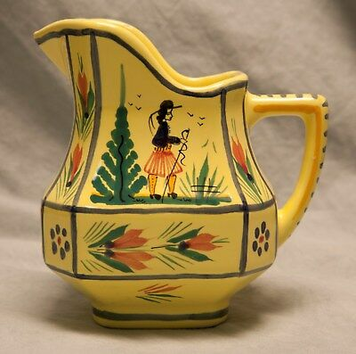 Vintage Henriot Yellow Creamer Pitcher Lady Quimper France Flowers SIGNED
