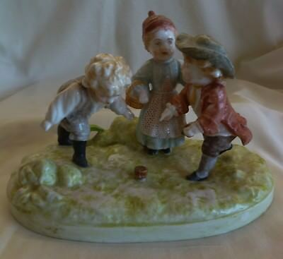 An Old Chelsea Porcelain Figurine Children Playing -- Green Anchor Mark