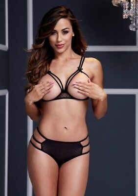 BACI STRAPPY OPEN CUP BRA SET OS BLACK One Size