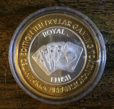 Royal Flush  $ 10.00 Gaming Token Limited Edition .999 Fine Silver