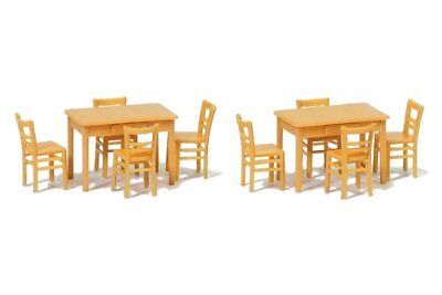 Preiser 17218 HO 1/87 2 Tables et 8 Chaises – Table and Chairs