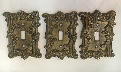 Vintage ? 3 BRASS Tone Heavy ORNATE SWITCHPLATE Switch Plate COVERS