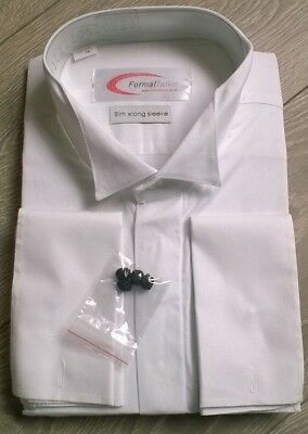 "White wing winged tip collar shirt Wedding formal occasion Tailored 17.5"" collar"