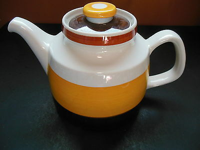 Rorstrand FOKUS Teapot Mid Century Vintage Yellow Brown Stripes Sweden Swedish