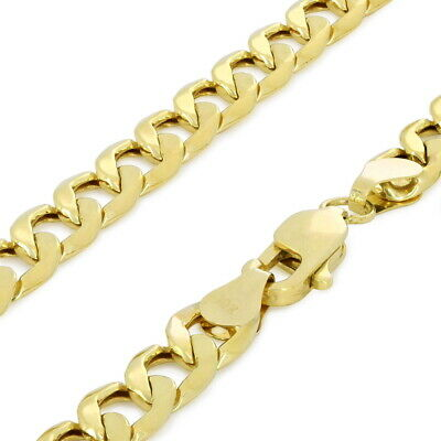 "10K Real Yellow Gold 5.5mm Curb Link Cuban Chain Necklace Mens Womens 18""- 30"""