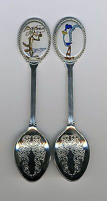 The Road Runner & Wile E. Coyote 2 Silver Plated Spoons Featuring Road Runner