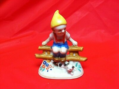 Vintage Japan Porcelain Figurine Boy Elf on Fence with Cat Gnome Hat