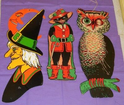 Vintage Beistle Luhrs Halloween LARGE OWL WITCH PIRATE CAT DECORATIONS LOT