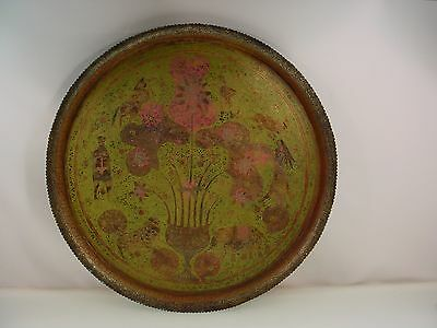 Vintage Indian Brass Tray Engraved Decoration 22""