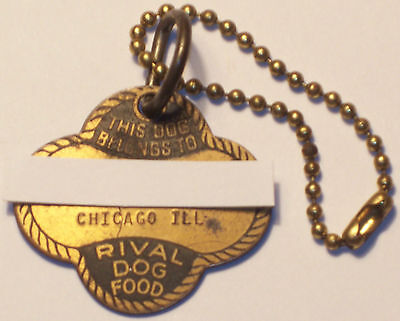 Rival Dog Food vtg metal dog tag / Personalized w/Chicago address