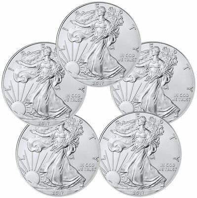 Lot of 5  2017 1 oz. American Silver Eagles, .999 Silver, Gem BU w/ No Marks!