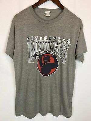 Vintage 80s 1983 Pittsburgh Maulers Tee T Shirt Mens Size Large Grey RARE USFL