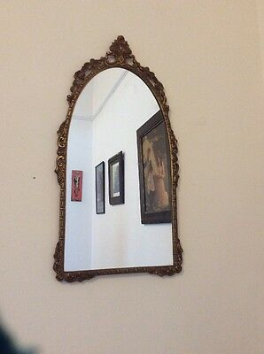 Vintage brass archtop mirror decorative framed art deco baroque 70s revival