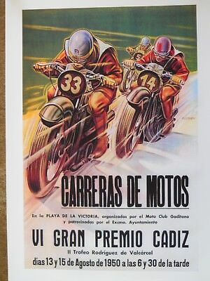 Spanish Motorcycle 1950 Reprint Poster Grand Prix Racing Carrera Vintage Road GP