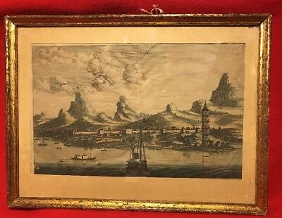 Super Rare Original Antique Map Xaocheu ou Sucheu China 1670 (undated) Framed