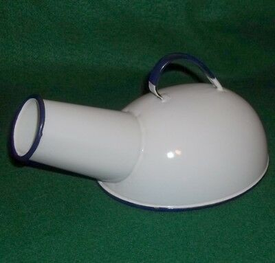 Vintage Cesco Columbian Enamelware White & Blue Porcelain Male Urinal - Mint!