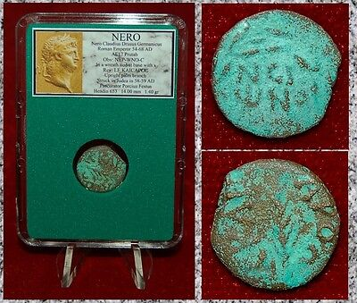 Ancient Roman Coin NERO Palm Branch Judea Mint 58-59AD Nero Inscription Obverse