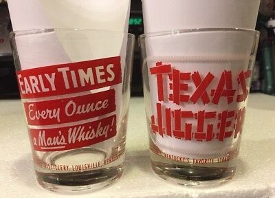 Set of 2 Early Front (Times Every Ounce a Man's Whisky)Back(Texas Jigger Glass)