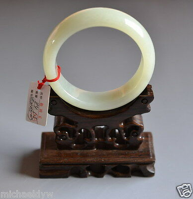 Certified Fine Old Chinese Hetian Nephrite Celadon Jade Bracelet Bangle 60mm