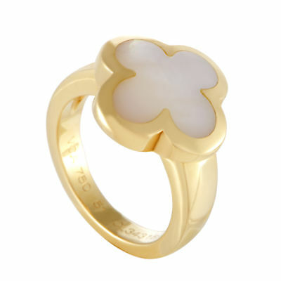 Van Cleef & Arpels Pure Alhambra 18K Yellow Gold Mother of Pearl Ring