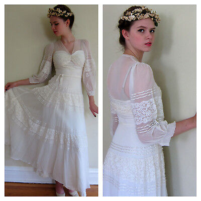 Vintage 1930s White Dress Bridal Wedding Gauzy Sheer Lace Boho Romantic Small