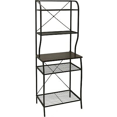 Kitchen Bakers Rack Metal Wood Tiered Shelves Counter Pantry Storage  Organizer