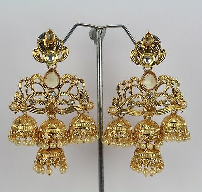 New Indian Fashion Jewelry Wedding Polki Kundan Women Long Earring Jumka Dangle