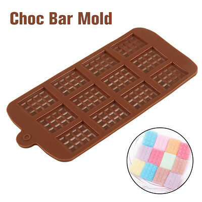 Grid Chocolate Candy Sugar Moulds Bar Block Ice Tray Silicone Cake Bake Mold