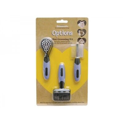 Rosewood Slicker Grooming Kit Mini Double-Sided Comb Animal Soft Manicure Brush