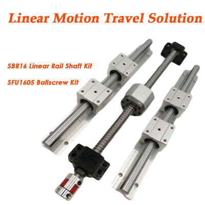 CNC Linear Motion Kit SBR16 Rail Shaft +SFU1605 Rolled Ballscrew Ballnut Bracket