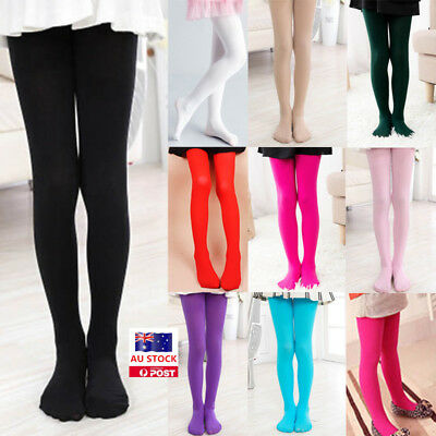 Kids Girls Velvet Plain Pantyhose Hosiery Opaque Ballet Dance Tights Stockings