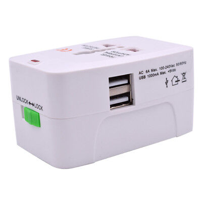 2USB Port Universal Travel AC Power Charger Adapter Plug Converter  W/Dual