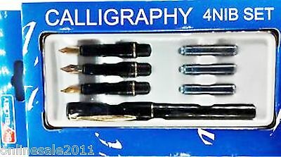 Calligraphy Fountain Pen Set 4 Nibs1 Pen 22 Carat Gold Plated 3 Cartri Free Ship