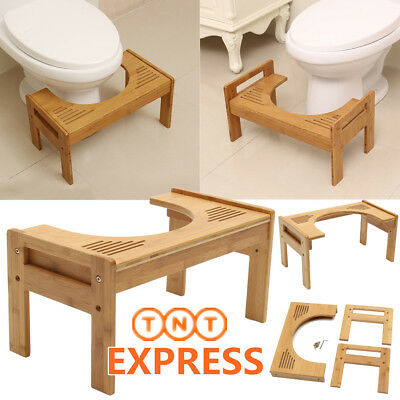 Bamboo Non Slip Sit And Squat Toilet Potty ECO Squatty Stool Healthy Colon NEW