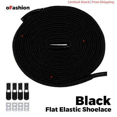 No Tie Shoelace Flat Elastic Shoe Lock Lace Sport Sneakers Unisex Black