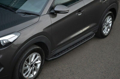 Black Aluminium Side Steps Bars Running Boards To Fit Hyundai Tucson (2015+)