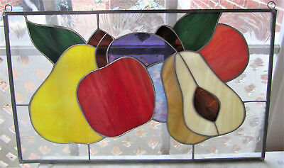 "Stained Glass Leaded Hanging Window Lead Panel • 19.75""  x 12"" • Colorful Fruit"