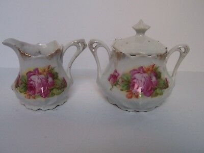 Antique Porcelain Pink Rose Leaf Embossed Sugar Bowl Creamer Set