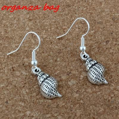 2pair Antique silver Conch Shell alloy Charms Earrings With Fish hook Ear Wire