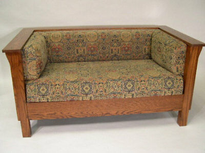 Mission Arts and Crafts Stickley Style Prairie Panel Settle Loveseat