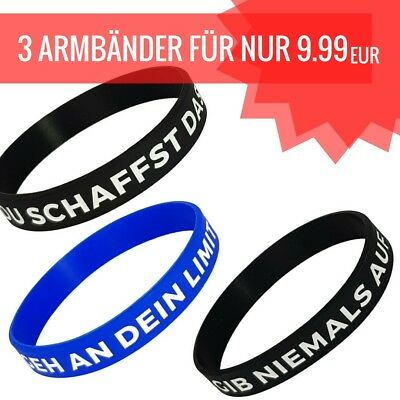Sport Fitness Armband mit Motivation's Spruch Gummi COMBO-PACK UNISEX BRANDNEU