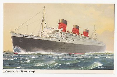 Cunard R.M.S. QUEEN MARY 1936-67 Advertising Art Postcard Signed C. E. Turner