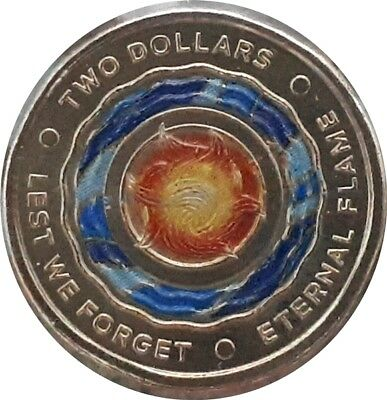 2018 Coloured $2 Anzac UNC Coin. 1 coin only supplied in 2x2 from Mint Roll